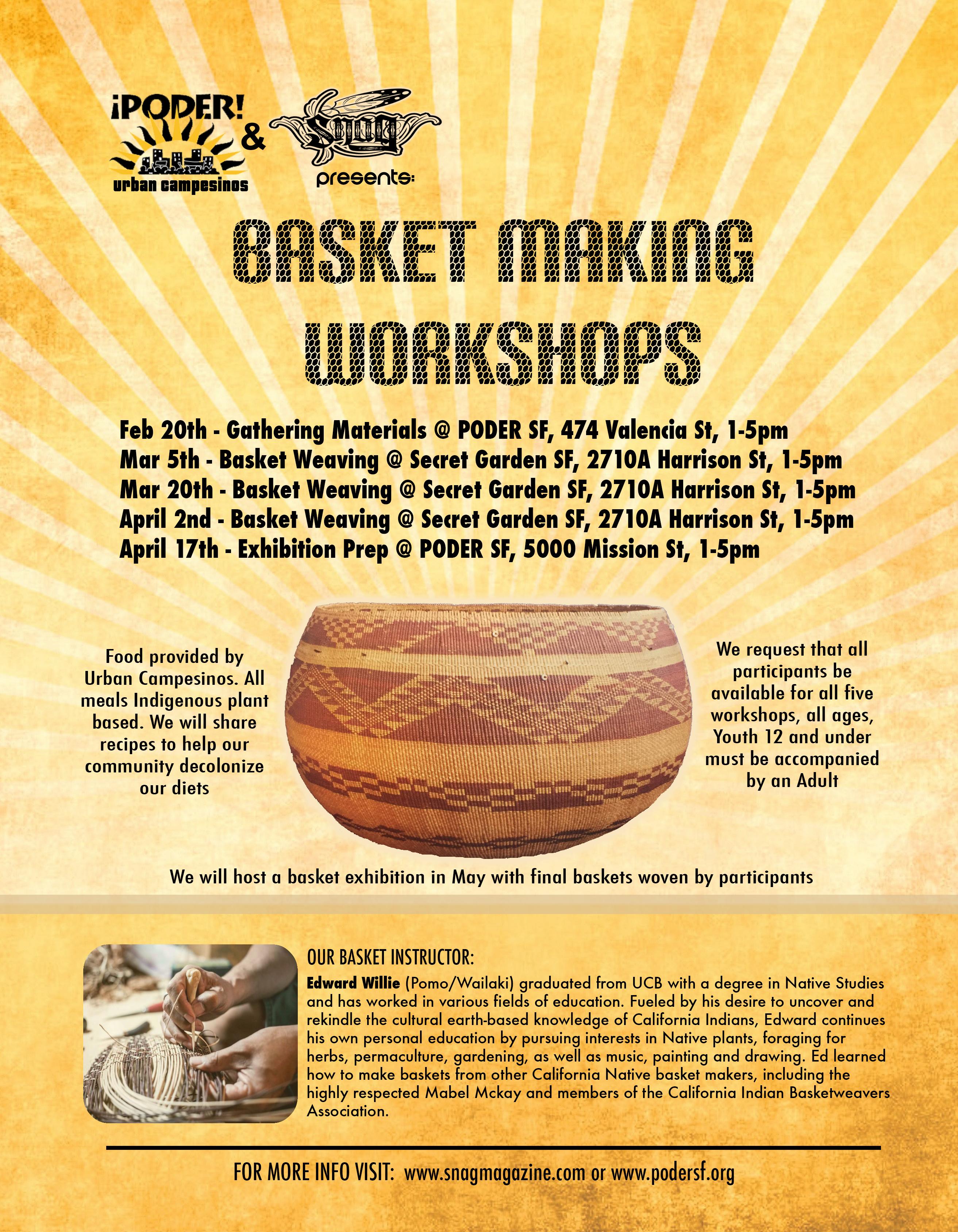 Traditional Basket Making : Poder snag present traditional basket weaving